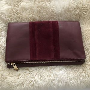 Handbags - NWOT Purple Clutch with Suede Stripe